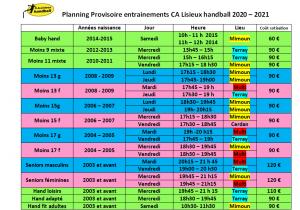 Planning Entrainements 20 21 site